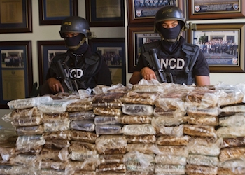 Dominican Republic police guard seized drugs