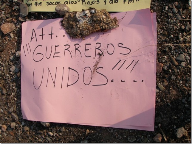 A message signed in the name of the Guerreros Unidos