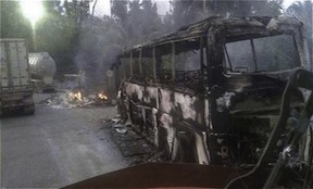 A semi-truck burned by the FARC in Antioquia