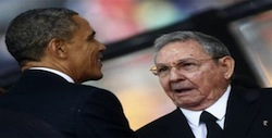 President Obama shaking hands with President Castro