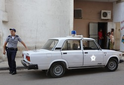 A Cuban police officer on duty