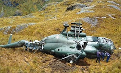 A helicopter shot down in 2009 in the VRAEM