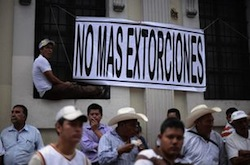 A protest against extortion in Guatemala