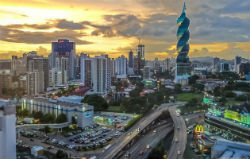 Panama City at sunset