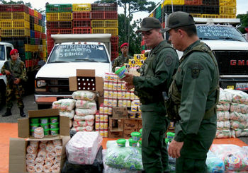 Venezuelan authorities with seized contraband