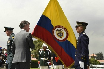 President Juan Manuel Santos at a recent military ceremony