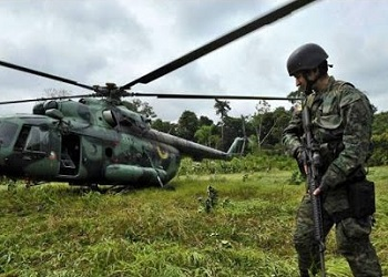 A Colombian soldier deployed