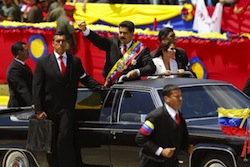 Venezuelan President Nicolas Maduro traveling with bodyguards