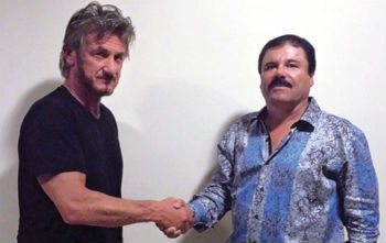 "Sean Penn (left) shaking hands with ""El Chapo"""