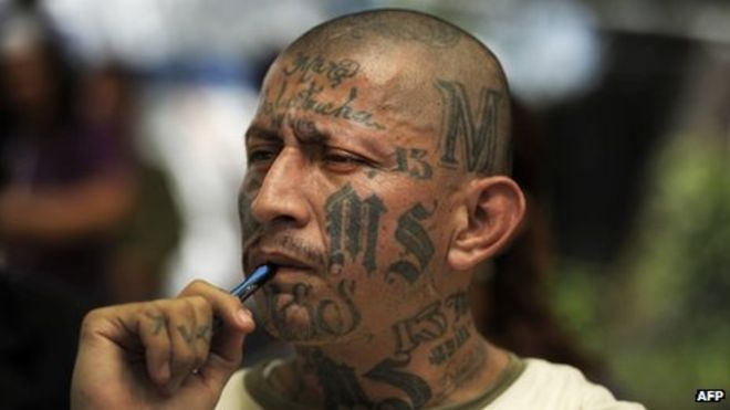 A member of the Mara Salvatrucha gang
