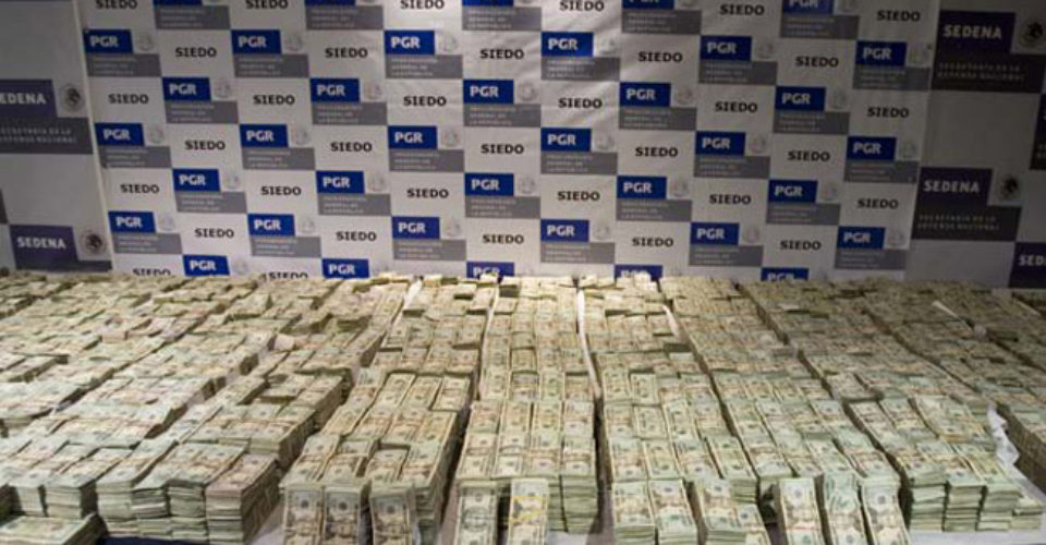Cash seized by Mexico's Attorney General's Office