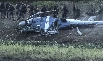 The crashed helicopter in Rio de Janeiro