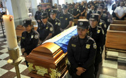 Funeral for a police officer in El Salvador