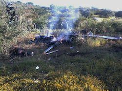 Wreckage of downed helicopter in Michoacán