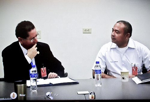Attorney General Douglas Meléndez (left) and Justice Minister Mauricio Ramirez Landaverde in the teleconference.
