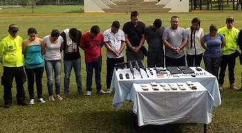 Detained members of a Colombian arms trafficking network