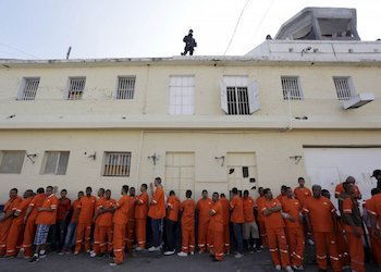Prisoners outside Topo Chico prison in Monterrey, Mexico,