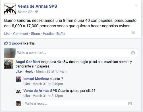 FB - Compra-Venta de Armas Post and Response