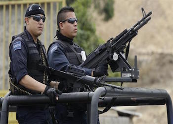 Mexican federal police on patrol