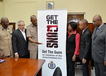 "Officials promote the ""Get the Guns"" campaign"