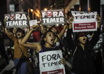 A protest against Brazil's President Michel Temer