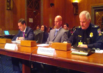 US Police Officials during a Senate committee hearing on the MS13. (From left to right: Commissioner Timothy D. Sini, Detective Scott Conley, and Chief J. Thomas Manger)