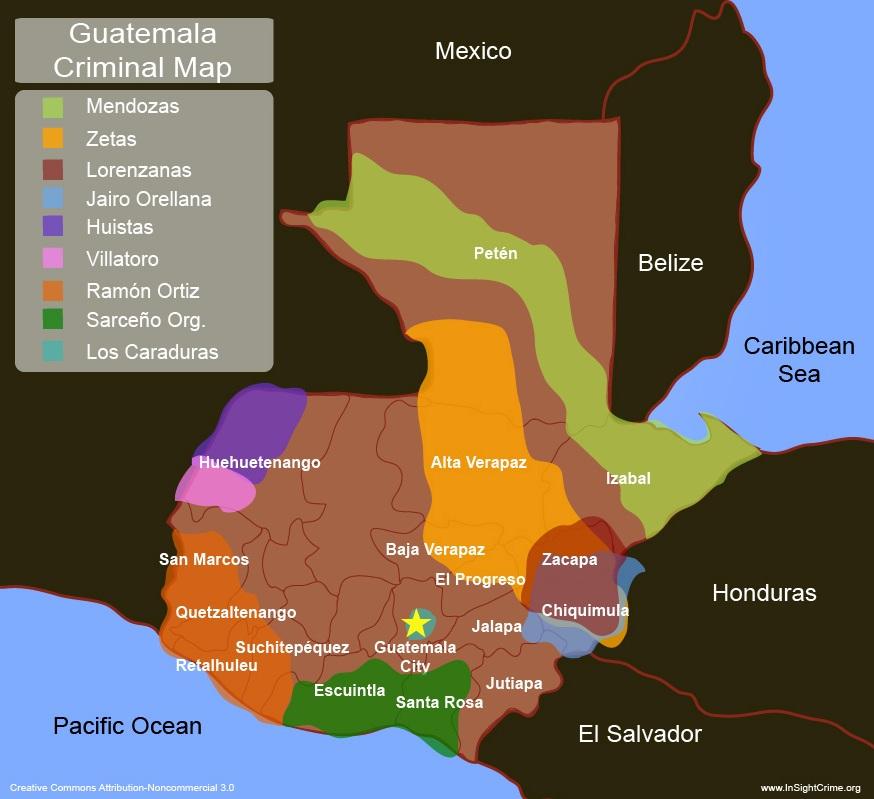 Guatemalas New Narcomap Less Zetas Same Chaos - Guatemala in map relative to the us