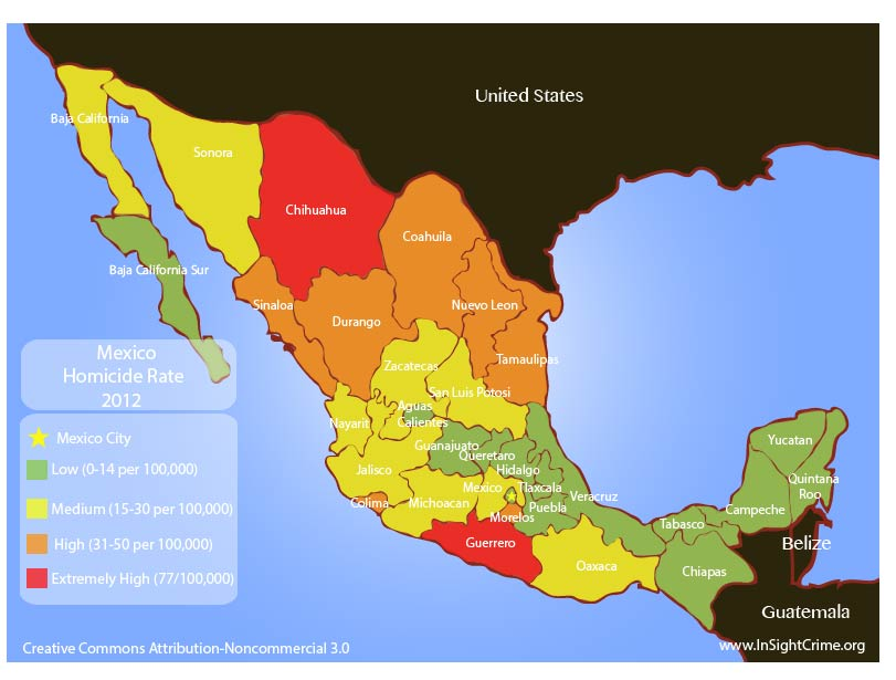 Mexico homicides by states 2012 17.14.13