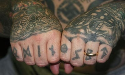 The tattoos of a Texas Aryan Brotherhood member