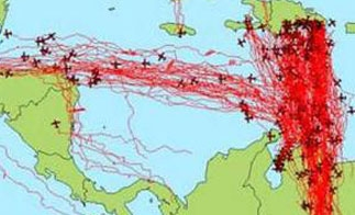 Drug trafficking flight routes