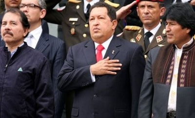 Presidents Ortega, Chavez and Morales in La Paz, Bolivia in 2009