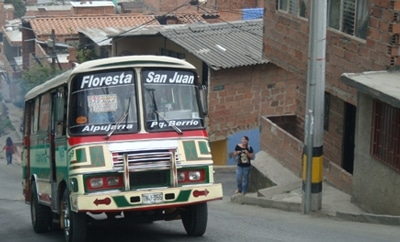 A bus on the streets of Medellin, where exortion is widespread