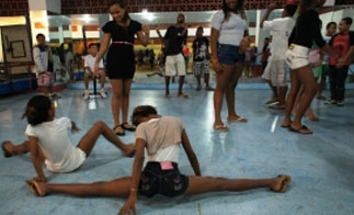 Students warming up for dance class in Rio de Janeiro