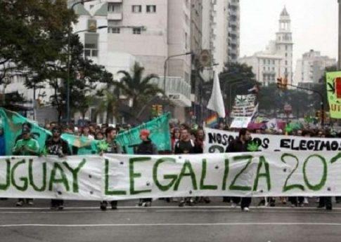 A protest in favor of legalizing marijuana in Uruguay