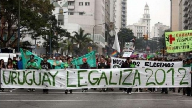 A protest in favor of legalizing marijuana in Uruguay
