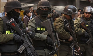 Bolivian police officers