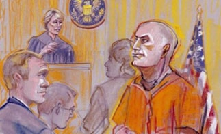 A courtroom sketch of Eduardo Arellano Felix hearing in San Diego