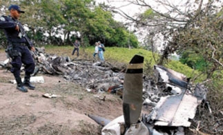 A drug plane that crashed in Honduras June 14