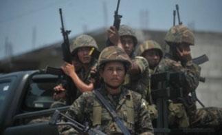 Soldiers on patrol in rural Guatemala