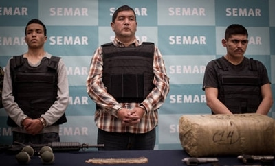 "Ivan Velazquez Caballero, alias ""El Taliban"" (center)"