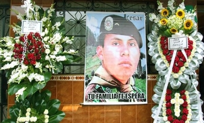A memorial to Cesar Vilca, who died in a rescue mission