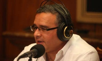 President Funes speaking on his radio show,