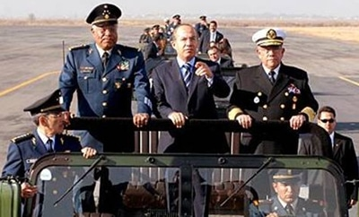 President Felipe Calderon with army commanders