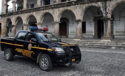 Police vehicle on patrol in Guatemala