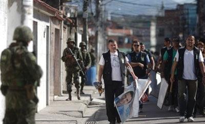 Brazilian troops on patrol in Rio's favelas