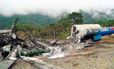 Helicopter destroyed by alleged Shining Path guerrillas