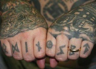 The tattoos of a Texas Aryan Brotherhood member