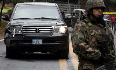 Diplomatic SUV following the attack by Mexican police