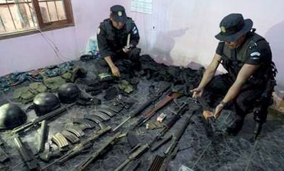 Arms seized by Guatemalan authorities