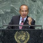 Mexico's Felipe Calderon addressing the United Nations